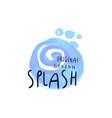 splash logo original design aqua blue label vector image