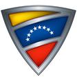 Steel shield with flag venezuela vector image