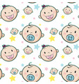 seamless background with baby faces vector image