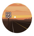 route 66 scene round icon vector image
