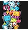 Kawaii gadgets social network seamless pattern vector image