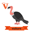 Vulture V letter Cute children animal alphabet in vector image