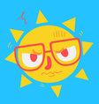 Cute Geek Sun Looking Angry vector image