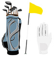 Golf clubs bag flag and white glove vector image
