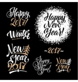Happy New Year Calligraphy Set Greeting Card vector image