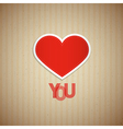 I Love You Theme Heart and Title on Cardboard vector image