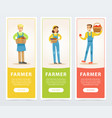 set of vertical banners with happy smiling farmers vector image