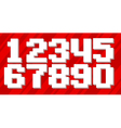 White pixel number set on red background vector image
