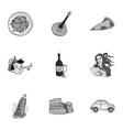 Italy country set icons in monochrome style Big vector image