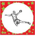 male handball player hand drawn vector image