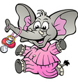 Hand-drawn of an Happy Baby Girl Elephant in vector image vector image