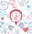art hand drawn of personality emotions on t vector image