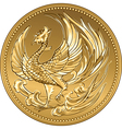 Japanese money gold coin with phoenix vector image vector image