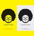 afro head with glasses vector image