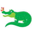 Crocodile and butterfly vector image