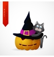 Haloween greeting card cartoon design vector image
