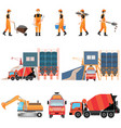 industrial cement processing plant with man vector image