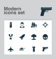 warfare icons set collection of rocket military vector image