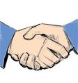 Business hand shake between two people vector image