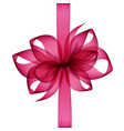 pink transparent bow and ribbon top view vector image