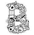 single english alphabet doodle vector image