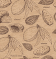 Seamless pattern with almonds on beige background vector image
