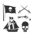 Pirate elements for vintage logo labels vector image