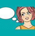 pop art woman comic woman with speech bubble vector image