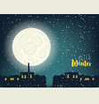 winter night cityscape with full moon and houses vector image