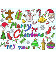 color doodle christmas background vector image vector image