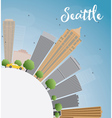 Seattle City Skyline with Grey Buildings vector image vector image