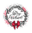 hand drawn new years wreath with red bow vector image