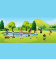 happy children playing in park vector image