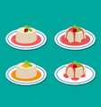 set of panna cotta in flat style vector image