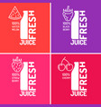 set of posters fresh juice with blackberries vector image