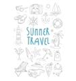 Summer Travel and Tourism Handdrawn Set vector image