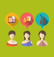 three woman with speech and thought bubbles flat vector image
