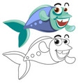 Animal outline for fish swimming vector image