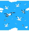 Gulls and clouds in the blue sky Seamless vector image