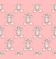 white rabbit on pink background vector image