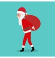 Cartoon Santa Claus carries big red bag with gifts vector image