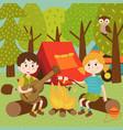 children near bonfire in summer camp vector image
