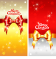 greeting card with Christmas ribbons bow vector image vector image