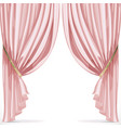 Pink curtain collected in folds ribbon isolated on vector image vector image