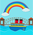Bridge over river and boat on water vector image vector image