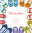 background with women shoes in circle vector image