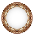 Plate with brown ornament vector image