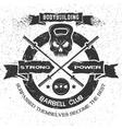 Bodybuilding emblem in vintage style vector image