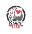 casino logo vintage gambling badge or emblem estd vector image