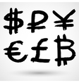 Grunge currencies symbols vector image